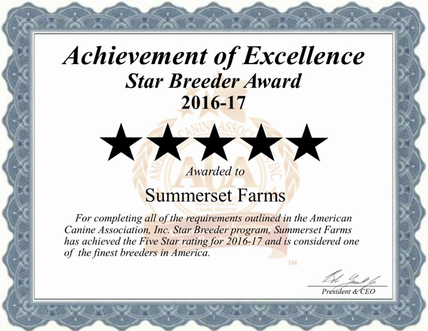 summerset, farms, kennel, certificate, seneca, falls, ny, new, york, summerset-farms, seneca-falls,  professional, usda, 21-b-0147